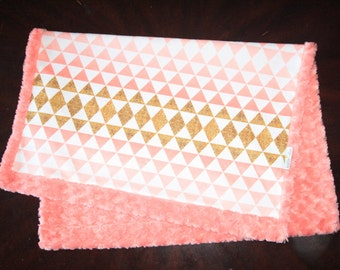 Gold and Coral Baby Blanket, Girl Baby Blanket, Baby Girl MINKY Blanket, Minky Baby Blanket, Ombre Triangles Baby, Ready toShip Baby Blanket