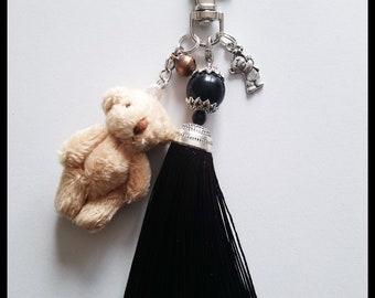 Teddy bear and Pompom bag charm