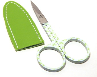 Embroidery Scissors & Sheath 3 1/2 Inch Ribbons Yellow Green with Dark Lime Vinyl Sheath