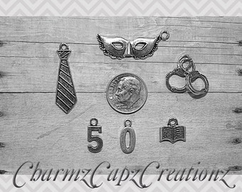 6 pc Fifty Shades of Grey Inspired Charm Pendant Lot Set Collection/Jewelry Scrapbooking/Choose Split Rings,Lobster Clasps,European Bails