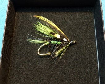 Black & Chartreuse Superior Quality Salmon Fly Brooch Pin