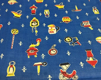 Cute vintage 50s novelty print kitchen cotton 1.25 y