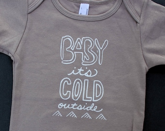 organic baby bodysuit, Baby it's cold outside, winter baby bodysuit, graphic one-piece, baby shower gift, Holiday lyrics