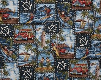 Vintage Hawaiian shirt fabric Hawaiian fabric dress fabric scenic postcards woodie wagon surfboard fabric Trendtex Palm trees Honu turtle