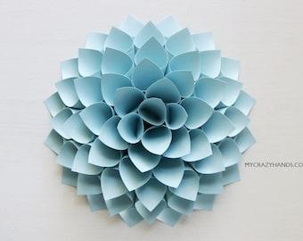 nursery wall decor || 7'' dahlia wall decor || paper dahlia || wedding flower | origami gifts || baby photography backdrop -pale blue