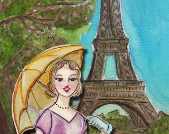 Original Watercolour Painting Print - a parasol in Paris