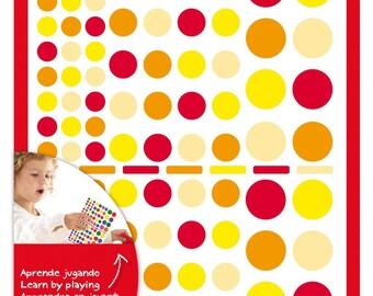 Assortment 624 Orange/red - APLI Kids - Ref 13523 round stickers - until the stock!