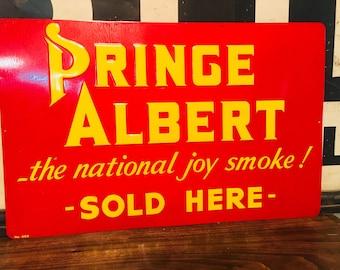 Original 1950's Vintage Prince Albert Metal Sign Smoke Tobacciana advertising, Cigarette Tobacco Embossed Tin  Advertising Sign
