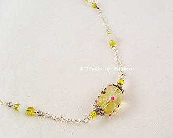 Yellow bumpy bead necklace - READY TO SHIP