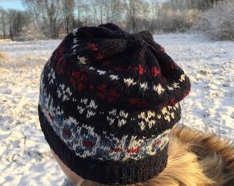 Fair Isle hat Merino wool hat Dark Blue hat Navy blue Women's hat Hand knit hat Made to order