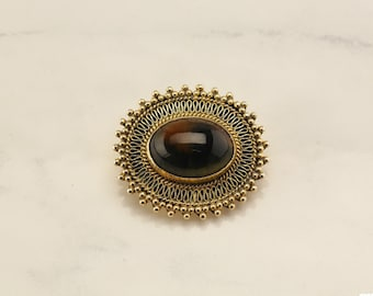 Sterling Silver Brown Tiger Eye Gold Gilded Brooch, Pendant
