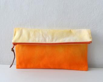 Ombre Clutch/ Ombre orange zipper Pouch/ Summer fashion accessory
