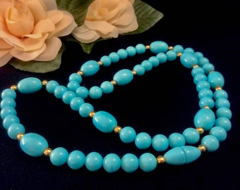 1980s Bead Necklace, Gold and Turquoise Blue Colored Beads