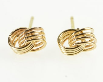 14K Interlocking Tiered Circles Design Stud Earrings Yellow Gold
