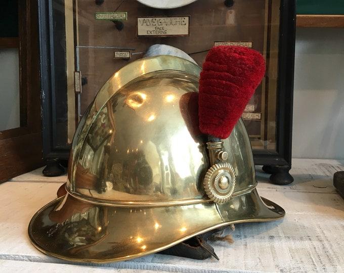 Antique firefighter parade brass helmet early 1900 from Belgium