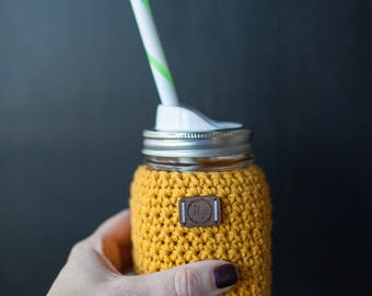 Ready to ship! Mason jar & crocheted sleeve and drinking straw