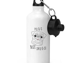 Pugs Not Drugs Sports Bottle