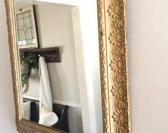 Vintage Gold Mirror Ornate Large