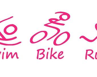 Swim-Bike-Run Triathlon Vinyl Decal