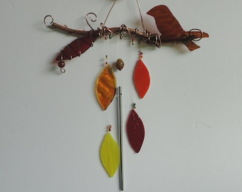 """Fall Decor, Stained Glass, Sculpture, Branch, Nature Decor, Window Hanging, Copper, Autumn Wind Chime, Nature, Tree, Bird, """"Falling Leaves"""""""