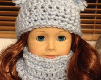 Crochet American Girl Doll Hat and Cowl set