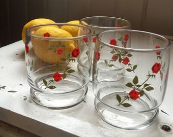 Sweet Roses Vintage Juice Water Glasses