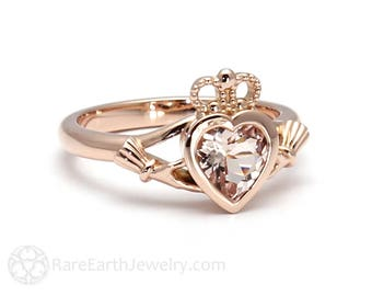 Claddagh Ring Celtic Jewelry Morganite Engagement Ring Irish Promise Ring Jewelry from Ireland in 14K or 18K Gold and Platinum