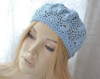 Sun hat Sky blue hat Crochet hats Summer hats Summer beanie Womens hats Crochet beret Womens crochet hat Womens cotton hats Girls lace beret