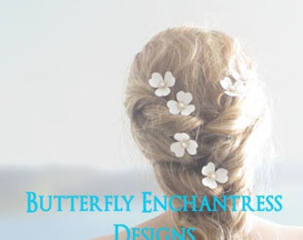 Bridesmaid Hair Flowers, Bridal Wedding Accessories - 6 Mckenna Trillium Blossom Hair Pins - Ivory White Purple Blue Pink Red & Many Colors