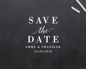 Save The Date Custom Rubber Stamp Self Inking Rubber Stamp Wood Handle Stamp Couple Gift Address Stamp Wedding Gift - Belmont (S190)