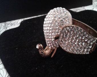 Impressive Rhinestone Covered Elephant Cuff Bracelet