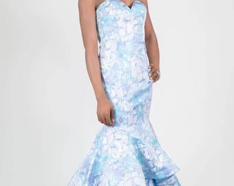 Jacquard Print Strapless Mermaid Dress