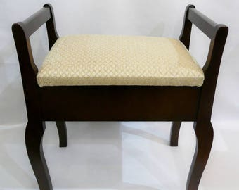 Piano Bench / Stool with White&Gold Fabric Top - Reconditioned