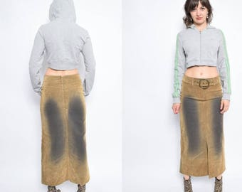 Vintage 90's Distressed Denim Maxi Skirt / Front Slit Maxi Skirt  - Size Extra Small