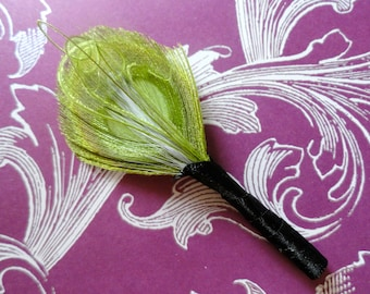 JACE Lime Green Peacock Feather Boutonniere