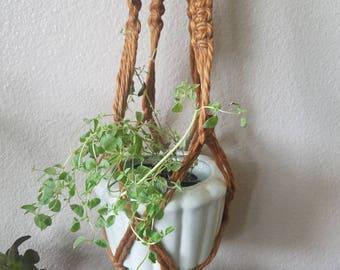 Vintage 1970s Macrame Flower pot holder with large wooden beads
