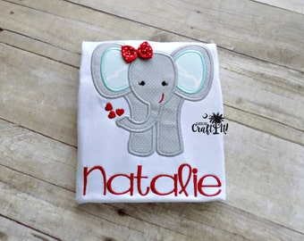 Girls Elephant Shirt, Elephant with Bow Girls Tshirt, Toddlers Elephant, Elephant Infants, Hearts,Personalized, Embroidered, Appliqued