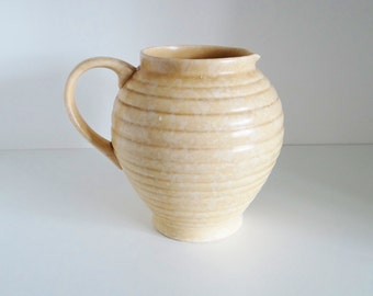 Vintage Art Deco Pitcher Jug by Kensington Ware, Made in England Mottled Beige Ivory Circa 1930s