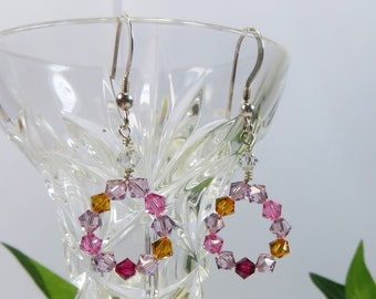 Hoop Earrings, Swarovski Crystal 925 Sterling Silver Earrings, Amethyst Topaz & Fuchsia Pink Silver Earrings, Delicate Lightweight Earrings