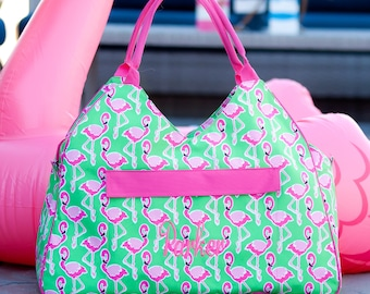 Monogrammed Hot Pink and Green Flamingo Beach Bag; Great Gift for Teachers, Friends & Brides