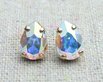 Swarovski Crystal Iridescent Tiny Teardrop Rhinestone Pear Rose Gold Post Earrings Bridal Jewelry Bridesmaids Presents Gifts Flowergirl