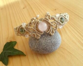 Rose quartz macrame bracelet, macrame jewelry, tribal bracelet, macrame stone, gemstone bracelet, rose quartz jewelry, gypsy bracelet