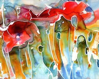 Poppy Field Watercolor on Yupo - Signed Giclee Fine Art Print
