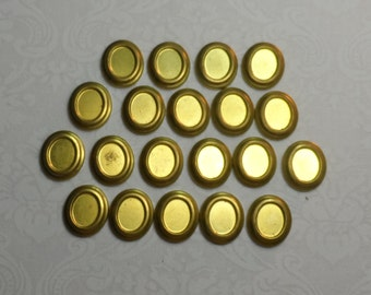 "Raw brass high domed stamped 10x8mm setting,5/8th""x1/2"",20pcs-STS05"
