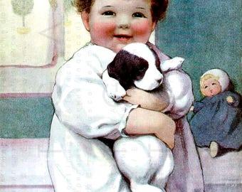 Child & Puppy Lovely Vintage Illustration. Vintage Children Digital Download. Dog Digital Download. Puppy And Baby Vintage Print.