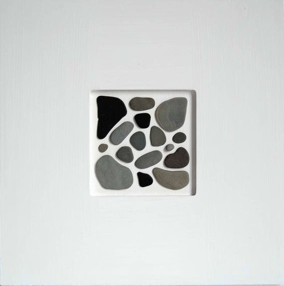 Flotsam Collage Grey flat stones