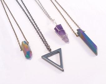 Gunmetal Geometric Triangle Spike Necklace -Vintage Style Jewellery- Gothic Jewelry - Hematite Stone - Geometry - Long Necklace
