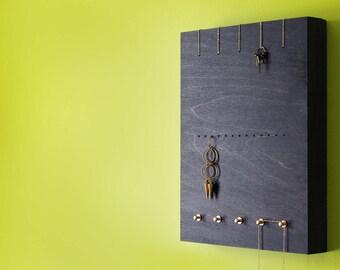 Jewelry storage wall elegant jewelry display minimalism necklace holder rack organizer wood pretty organization gold brass - PERCH no4 BLACK