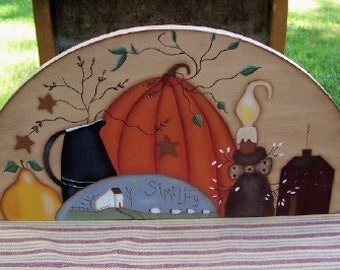 Door Crown Wood Topper Primitive Fall Pumpkin Home Decor Hand Painted Wall Art