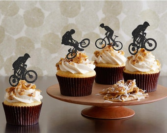 Bicycle Cupcake Toppers Bicycle Party Boy's Birthday Cupcake Toppers Sports Cupcake Topper Bicycle Team Party Cupcake Toppers